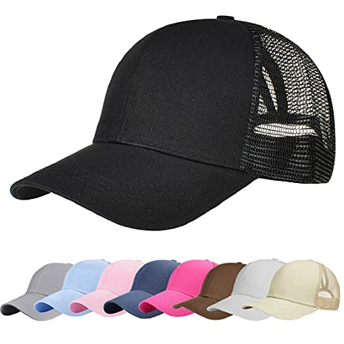 89c685d3 heekpek Women Baseball Cap Messy Bun Ponytail Half Mesh Adjustable Cap  Summer Hat (Black)