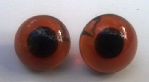 Glass Eyes - Looped Back - Different Sizes Available (10mm, Brown) from heidifeathers