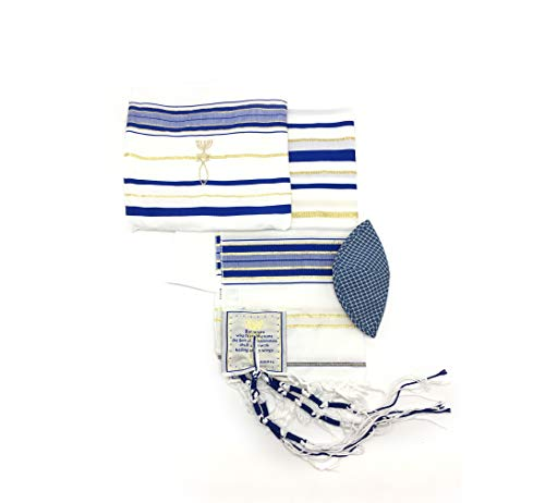 Messianic Tallit Prayer Shawl Talit Blue And Gold With Talis Bag from holyland