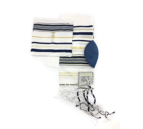 Messianic Tallit Prayer Shawl Talit Dark Navy And Gold With Talis Bag from holyland