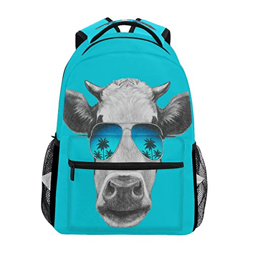 Hunihuni Animal Cow Durable Backpack College School Book Shoulder Bag Daypack for Boys Girls Man Woman from Hunihuni