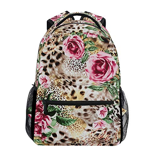 Hunihuni Animal Tiger Leopard Print Flower Durable Backpack College School Book Shoulder Bag Daypack for Boys Girls Man Woman from Hunihuni