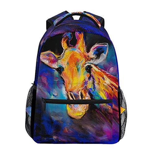 Hunihuni Art Painting Giraffe Durable Backpack College School Book Shoulder Bag Daypack for Boys Girls Man Woman from Hunihuni