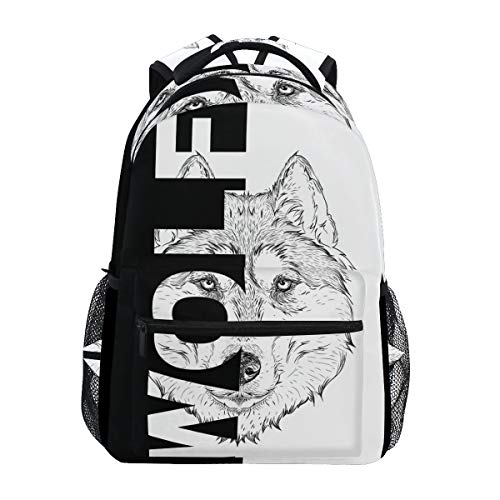 Hunihuni Art Wolf Durable Backpack College School Book Shoulder Bag Daypack for Boys Girls Man Woman from Hunihuni