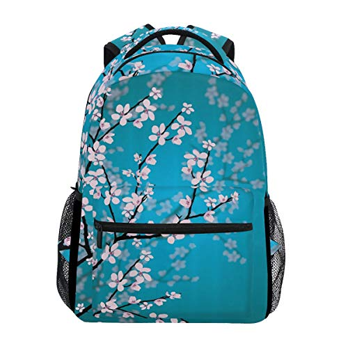 Hunihuni Cherry Blossom Durable Backpack College School Book Shoulder Bag Daypack for Boys Girls Man Woman from Hunihuni