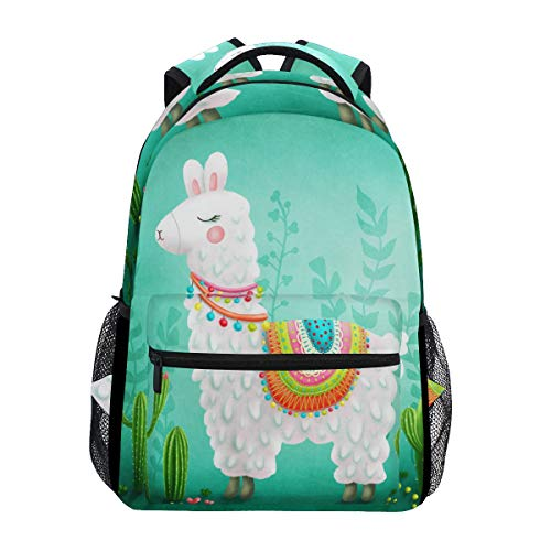 Hunihuni Cute Animal Alpaca Llama Durable Backpack College School Book Shoulder Bag Daypack for Boys Girls Man Woman from Hunihuni