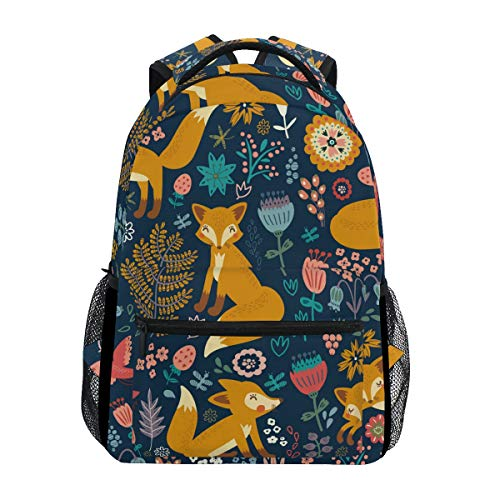 Hunihuni Forest Fox Pattern Durable Backpack College School Book Shoulder Bag Daypack for Boys Girls Man Woman from Hunihuni