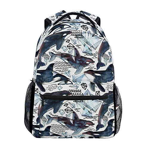 Hunihuni Killer Whale Durable Backpack College School Book Shoulder Bag Daypack for Boys Girls Man Woman from Hunihuni
