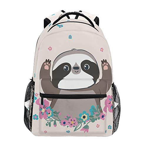 Hunihuni Little Sloth Durable Backpack College School Book Shoulder Bag Daypack for Boys Girls Man Woman from Hunihuni