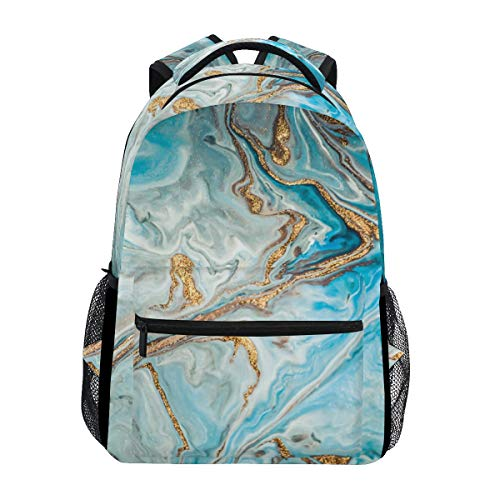 Hunihuni Marble Texture Durable Backpack College School Book Shoulder Bag Daypack for Boys Girls Man Woman from Hunihuni