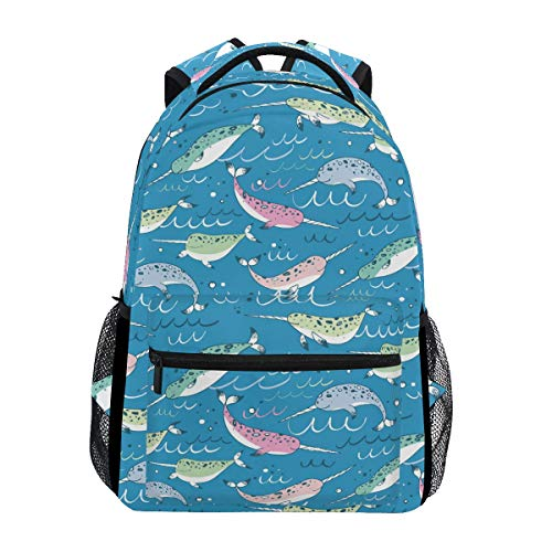 Hunihuni Narwhal Animal Durable Backpack College School Book Shoulder Bag Daypack for Boys Girls Man Woman from Hunihuni
