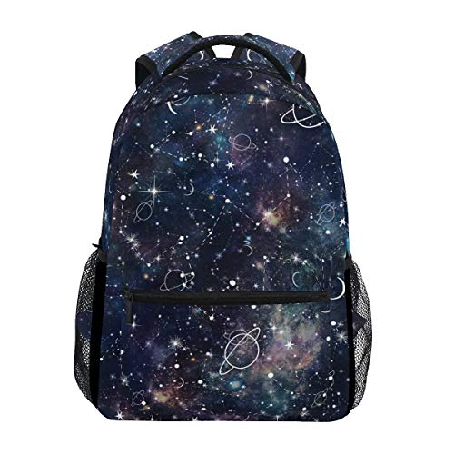 Hunihuni Night Planet Star Constellation Galaxy Durable Backpack College School Book Shoulder Bag Daypack for Boys Girls Man Woman from Hunihuni