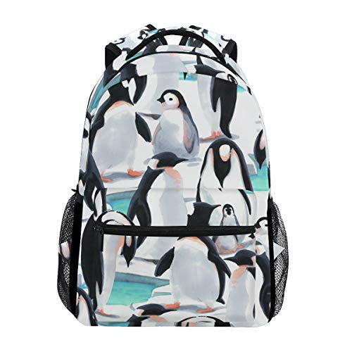 Hunihuni Penguin Pattern Durable Backpack College School Book Shoulder Bag Daypack for Boys Girls Man Woman from hunihuni