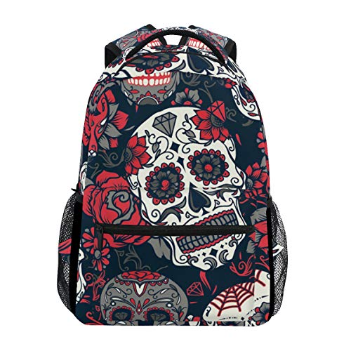 Hunihuni Sugar Skull Durable Backpack College School Book Shoulder Bag Daypack for Boys Girls Man Woman from Hunihuni