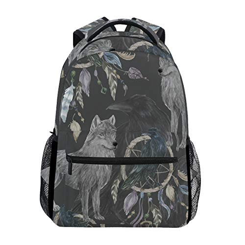 Hunihuni Wolf Dreamcatcher Pattern Durable Backpack College School Book Shoulder Bag Daypack for Boys Girls Man Woman from Hunihuni