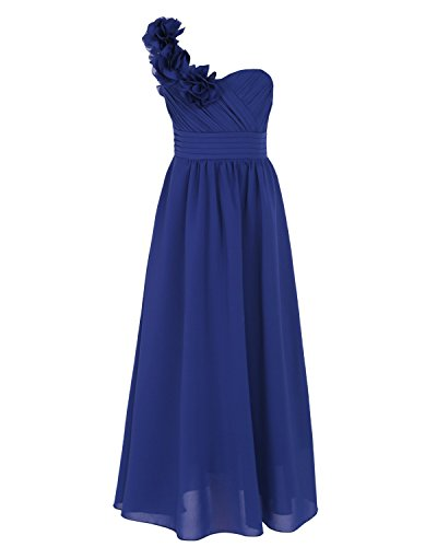 iEFiEL Kids Girls' One-Shoulder Chiffon Flower Dresses Wedding Pageant Bridesmaid Formal Maxi Long Dress Ball Gown Dark Blue 13-14 Years from iEFiEL