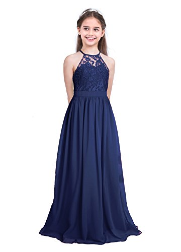iEFiEL Kids Girls Wedding Bridesmaid Halter Floral Lace Flower Dress Formal Chiffon Maxi Long Dress Tutu Ball Gown Navy Blue 11-12 Years from iEFiEL