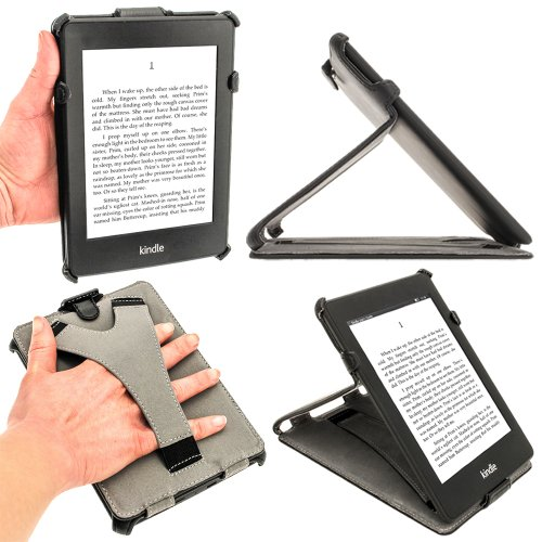 iGadgitz Black PU Leather Case Cover for Amazon Kindle Paperwhite 2015 2014 2013 2012 With Sleep/Wake Function & Integrated Hand Strap from iGadgitz