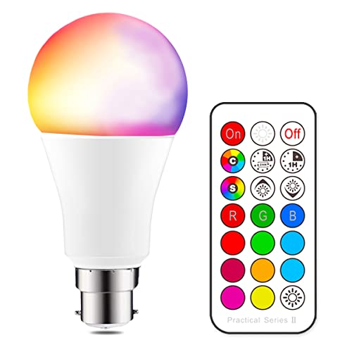 iLC Colour Changing Light Bulb Dimmable 10W B22 Bayonet RGBW LED Light Bulbs [2nd Generation] Coloured Lights, Mood Light RGB White - Dual Memory - 12 Color Choices - Remote Controller Included for Home/Decoration/Bar/Party/KTV Mood Ambiance Lighting from iLC