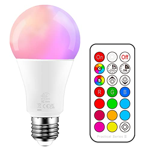 iLC Colour Changing Light Bulb Dimmable 10W E27 Edison Screw RGBW LED Light Bulbs Colour Changing Lights, Mood Light RGB White Coloured- Dual Memory - 12 Color Choices - Remote Controller Included from iLC