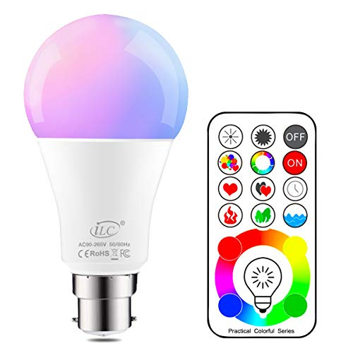 iLC B22 LED Colour Changing Light Bulb with Remote Control RGBW Bayonet - 120 Different Color Choices – RGB Daylight and White Dimmable Coloured – Timing Function from iLC