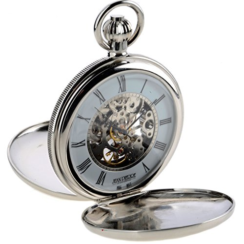 Skeleton Double Hunter Pocket Watch 17 Jewelled Mechanical Chrome Plated Case from iLuv