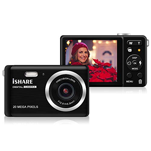 "Digital camera - 2.8"" TFT LCD Display Rechargeable Simple Digital Camera with 20mp for Kid/Girls/Boys/Students/Elderly (Black) from ISHARE"