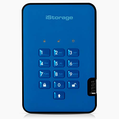 iStorage IS-DA2-256-SSD-4000-BE 4TB diskAshur2 USB 3.1 secure portable encrypted SSD drive - Ocean Blue from iStorage