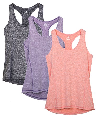 icyzone Activewear Running Workout Clothes Exercise Gym Shirt Yoga Racerback Tank Top for Women 3 Pack (L, Charcoal/Lavender/Peach) from icyzone