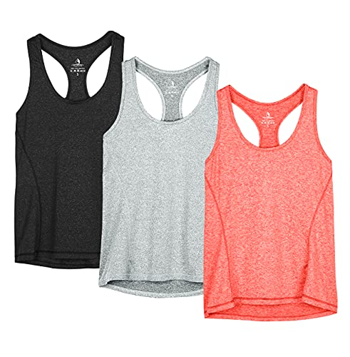 icyzone Activewear Running Workout Clothes Exercise Gym Shirt Yoga Racerback Tank Top for Women 3 Pack (S, Black/Granite/Orange) from icyzone
