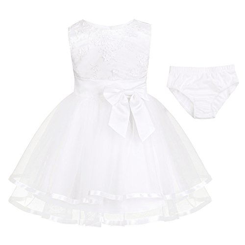 iiniim Baby Girl's Rose Flower Wedding Princess Dress Kids Formal Pageant Christening Dresses (12-18 Months, Ivory with Bloomers) from iiniim