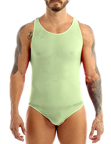 dc1d048f17dc iiniim Mens Smooth Bodysuit Thongs High Cut Leotard Swimsuit Underwear  Silky Undershirt Green One Size from. found at Amazon Marketplace
