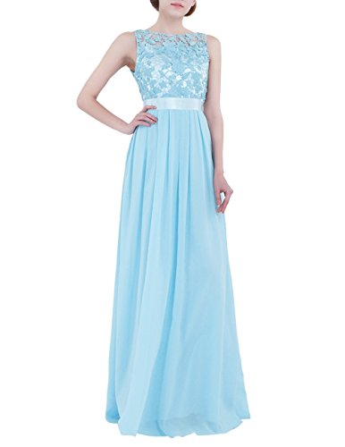 iiniim Women's Vintage Elegant Floral Lace Sleeveless Evening Prom Ball Gown Long Maxi Wedding Bridesmaid Dress Sky Blue Tag 10/UK 14 from iiniim
