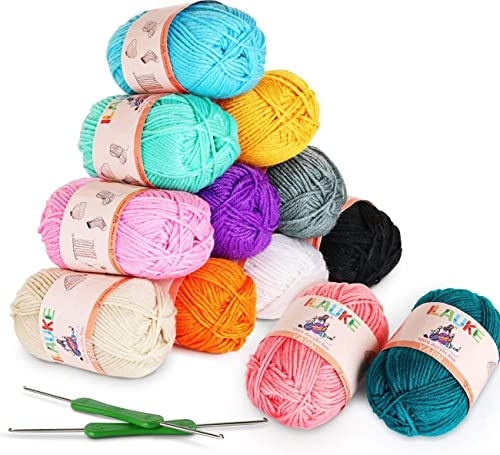 12 x 50g Balls of Assorted Double Knitting Yarn + 2 Crochets ilauke Coloured Acrylic Yarn Set (1200 MTS) from ilauke