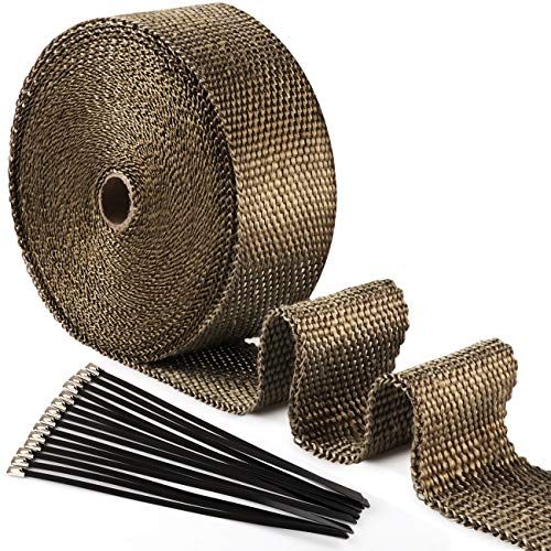 ilauke 15M*5CM Exhaust Wrap Roll Titanium for Motorcycle Heat Shield Tape + 15Pcs Stainless Ties from ilauke