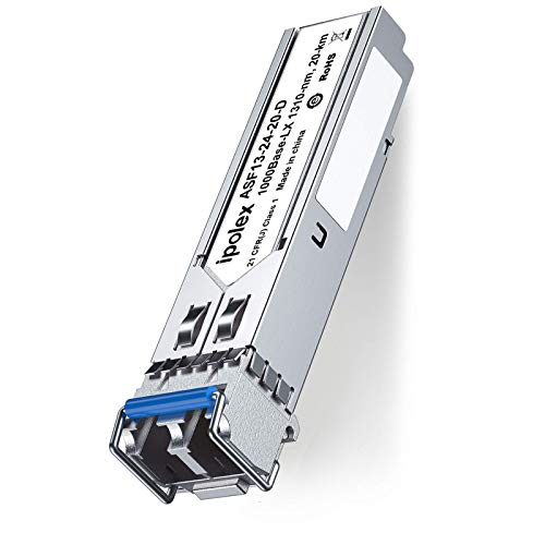 ipolex Gigabit SFP Module, 1000Base-LX/LH Single-Mode Transceiver for Cisco GLC-LH-SMD, Ubiquiti UF-SM-1G, Netgear, D-Link, Supermicro, Mikrotik, LC/PC, MMF/SMF, 1300nm, 10km from ipolex