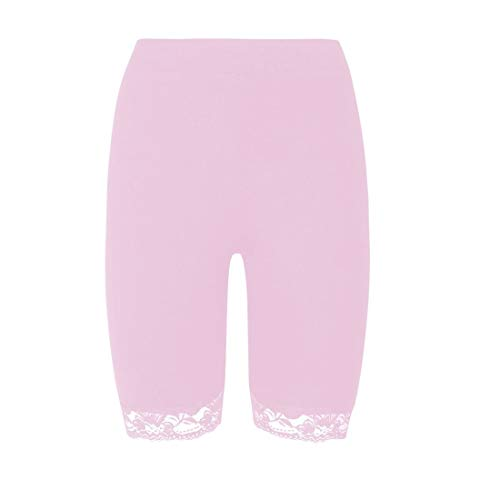 janisramone Womens Ladies New Scallop Lace Trim Plain Gym Bike Tights Viscose Active Cycling Shorts Hot Pants Baby Pink from janisramone