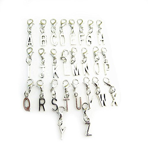 jewelleryjoy Clip On A-Z Alphabet Initial Letters Charms Pendant for Charm Bracelet Necklace in Organza Gift Bag(N) from jewelleryjoy