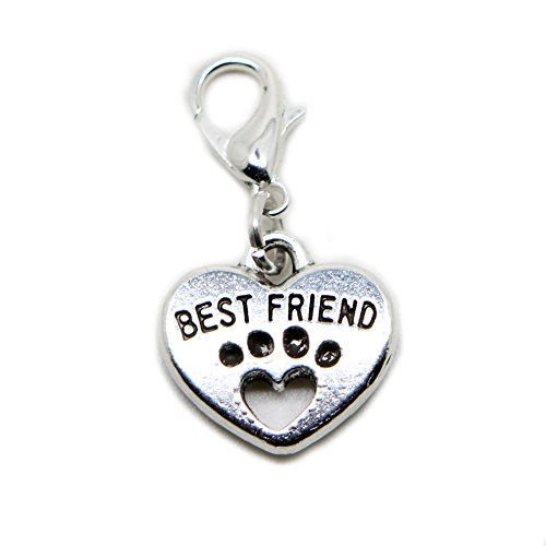 Best Friend Heart Paw Print silver tone charms Pendant for locket necklace and bracelet (silver) from jewelleryjoy