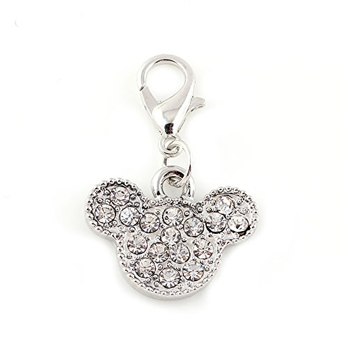 jewelleryjoy Crystal Silver tone Anime Bear Minnie Mouse sparkly rhinestone silver gold tone Dangle Bead for European Charm Bracelets Clip On Charm chain link bracelet Memory locket (Silver) from jewelleryjoy