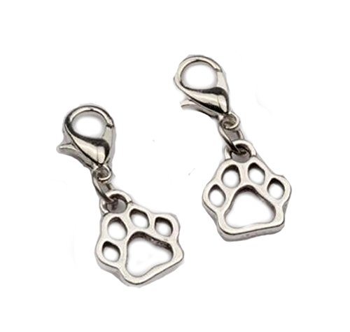 jewelleryjoy Hollow Paw silver plated Clip On Charms Pendant in Organza Gift Bag from jewelleryjoy