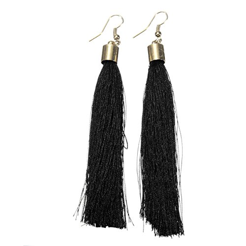 Long tassel earrings Luxury Tassel Earring With Gold Metal Cap, Long Tassel Earrings, Large Statement Earrings (Black) from jewelleryjoy