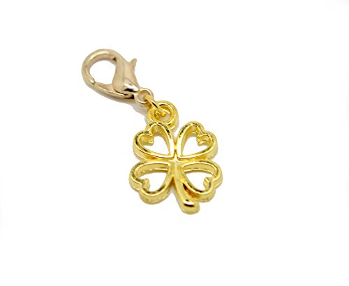 Lucky clover Gold Tone clip on filigree Bead for European Bracelet Charm Bracelets Charms pendants from jewelleryjoy
