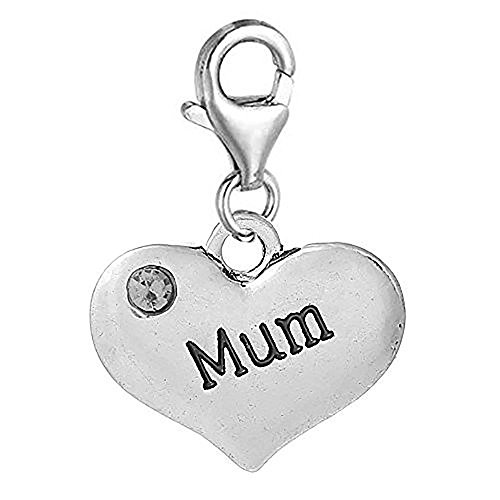 Mum Mother Two sided Gift Dangle Bead for Silver European Charm Bracelets Clip on Charm chain link bracelet fits Thomas Sabo (silver) from jewelleryjoy