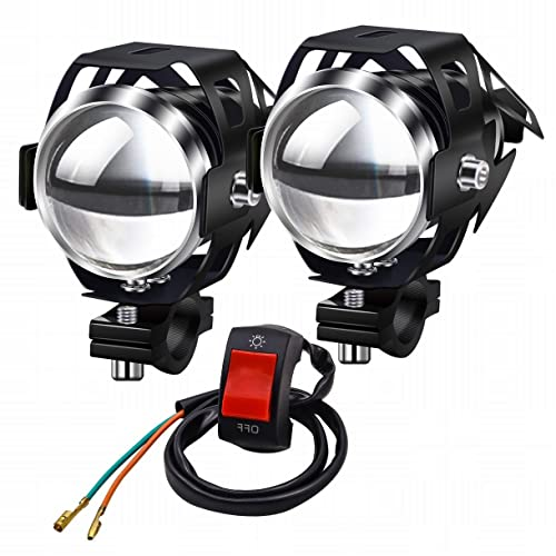 Motorcycle Headlights,Biqing Motorbike Spot Driving Lights CREE U5 Motorcycle Front Spotlights Additional Fog Lights DRL 125W 3000LM with Switch for Motorcycle Quad Scooter Car Truck Boat Bike from Biqing