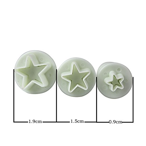 Fulldream 3 Pcs Mini Star Fondant Plunger Cutter Cake Biscuit Cookies Decorating Tool Mold from FullDream