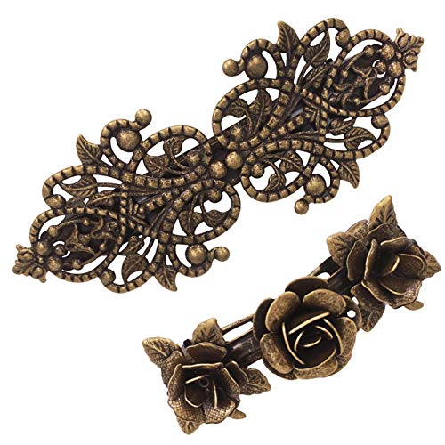 2PCS Retro Vintage Metal French Barrette Clip Hair Clasp Roses Bronze Accessories from justBe