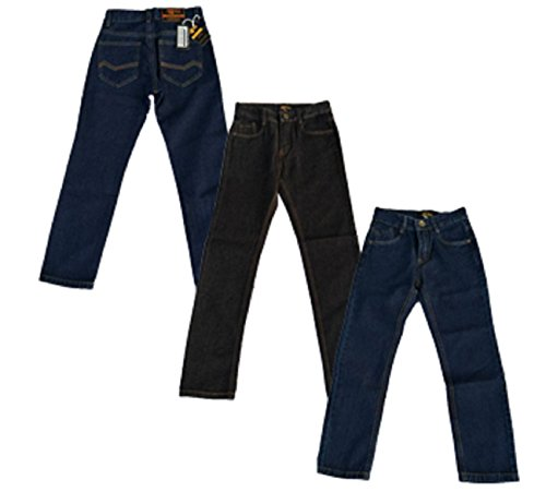 Designer Boys Jeans Adjustable Waist Trousers Black Blue Denim Wash Age 2 3 4 5 6 7 8 9 10 11 12 13 14 15 16 Years Justfound4You (Black, UK 8-9 Years (US 134)) from justfound4u