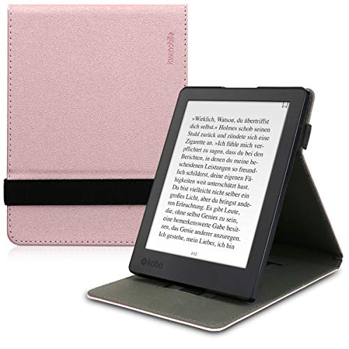 kwmobile Cover for Kobo Aura H2O Edition 2 - PU Leather e-Reader Case with Built-In Hand Strap and Stand - Rose Gold from kwmobile