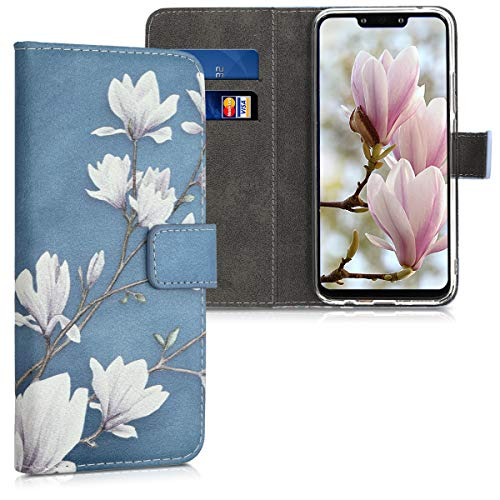 kwmobile Wallet Case for Huawei Mate 20 Lite - PU Leather Protective Flip Cover with Card Slots and Stand - Taupe/White/Blue Grey from kwmobile